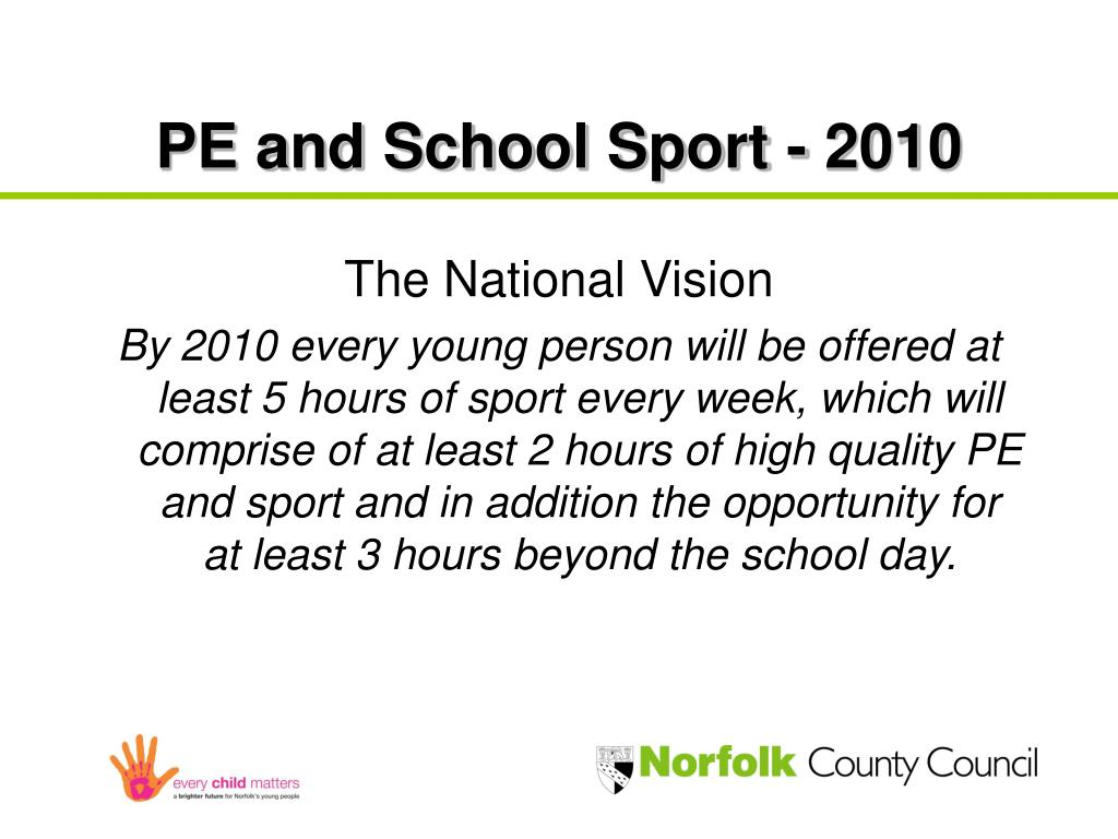 PE and School Sport - 2010