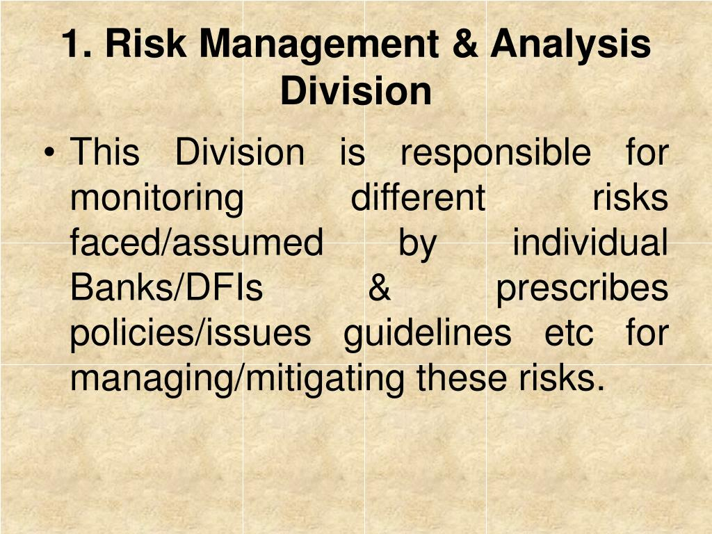 1. Risk Management & Analysis Division