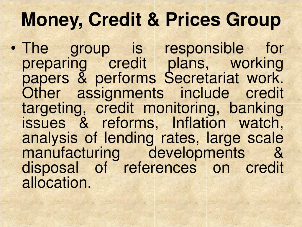 Money, Credit & Prices Group