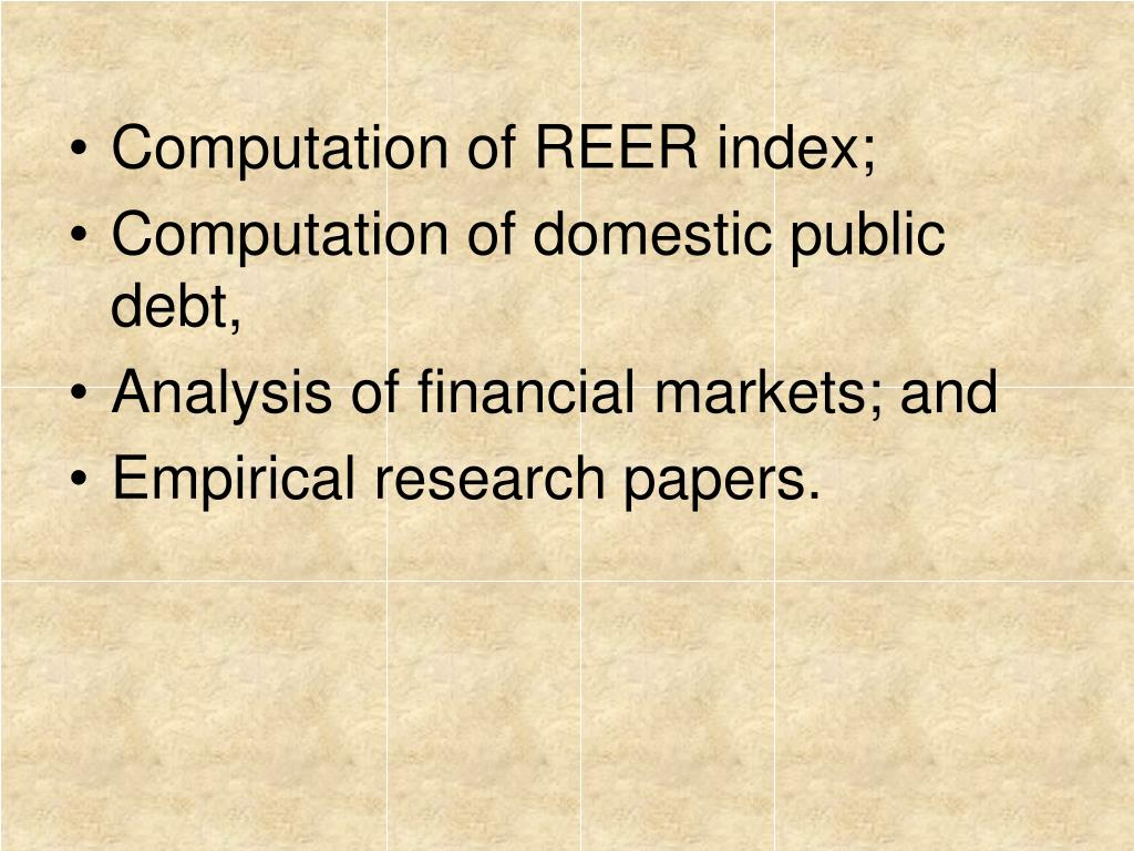 Computation of REER index;