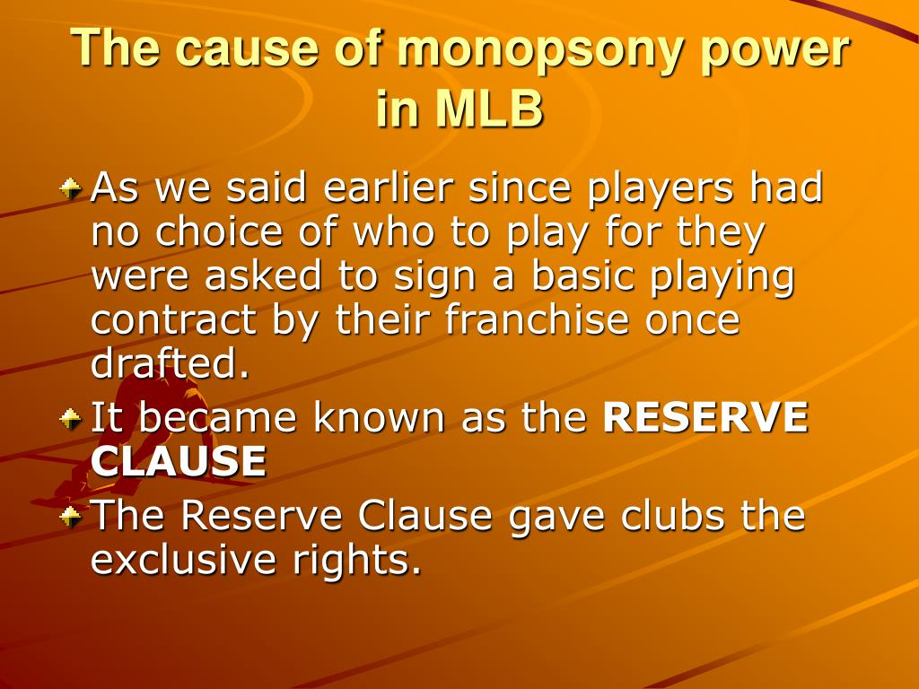 The cause of monopsony power in MLB