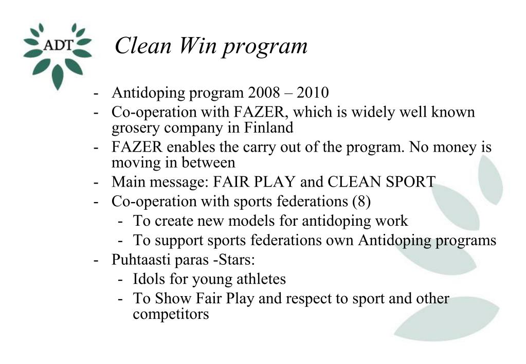 Clean Win program