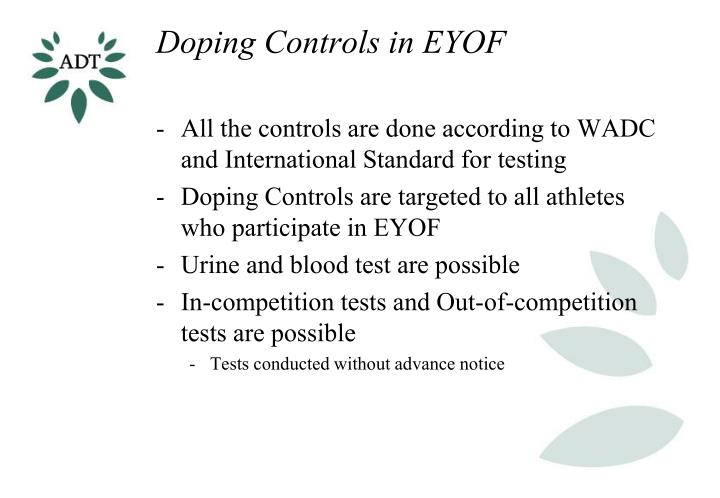 Doping controls in eyof