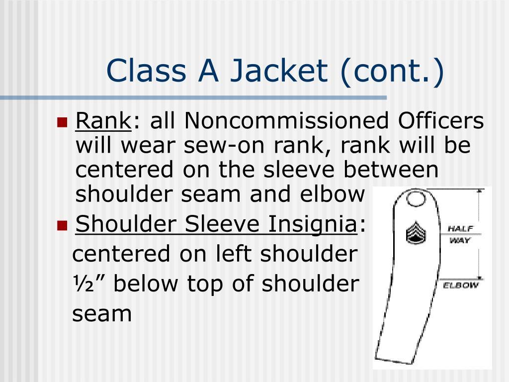 Class A Jacket (cont.)