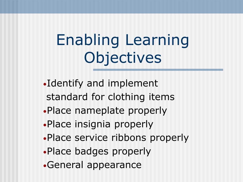 Enabling Learning Objectives