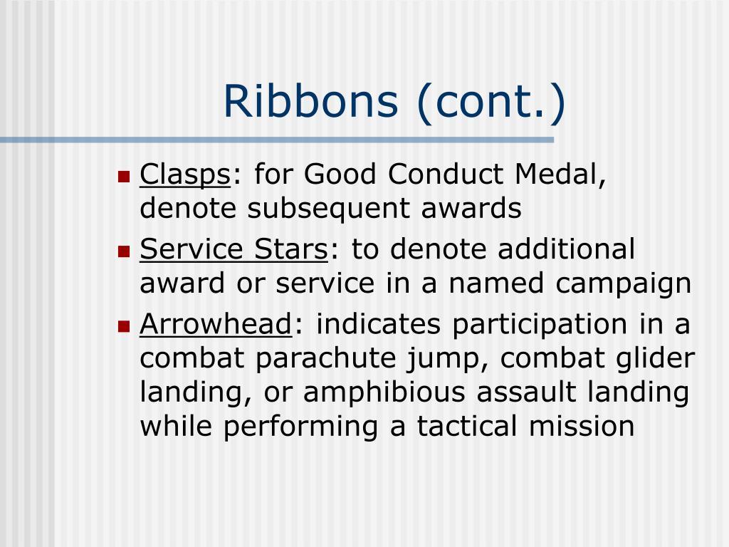 Ribbons (cont.)
