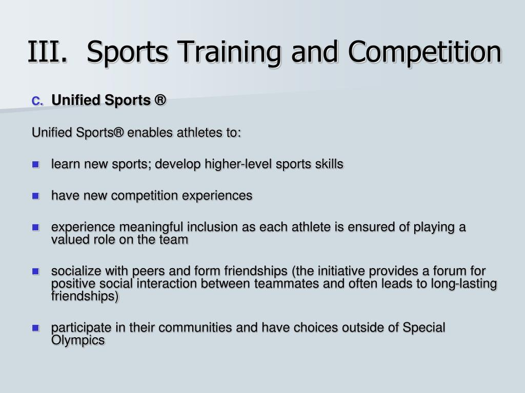 III.  Sports Training and Competition