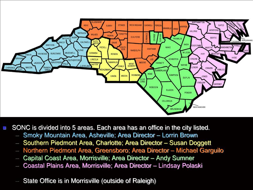 SONC is divided into 5 areas. Each area has an office in the city listed.