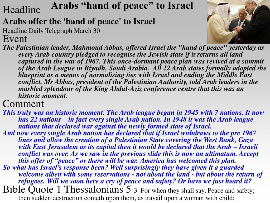 "Arabs ""hand of peace"" to Israel"