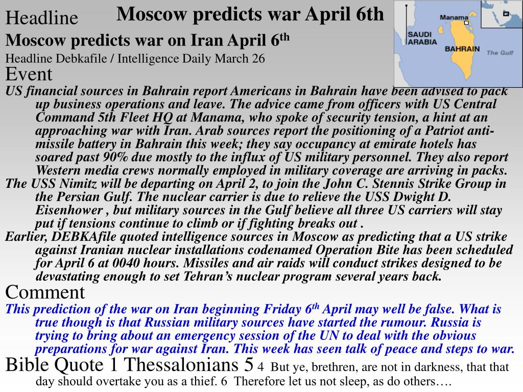 Moscow predicts war April 6th