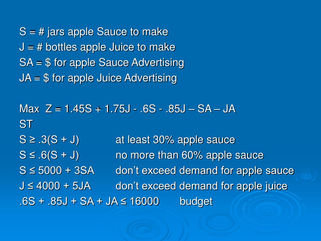 S = # jars apple Sauce to make
