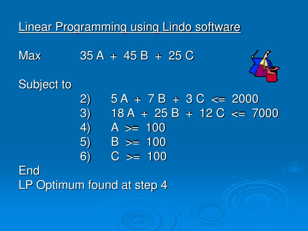 Linear Programming using Lindo software