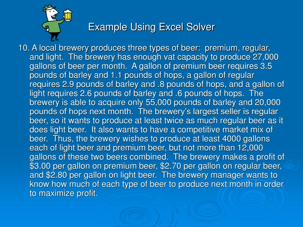 Example Using Excel Solver