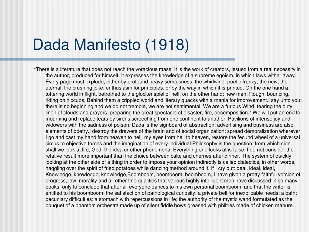 Dada Manifesto (1918)