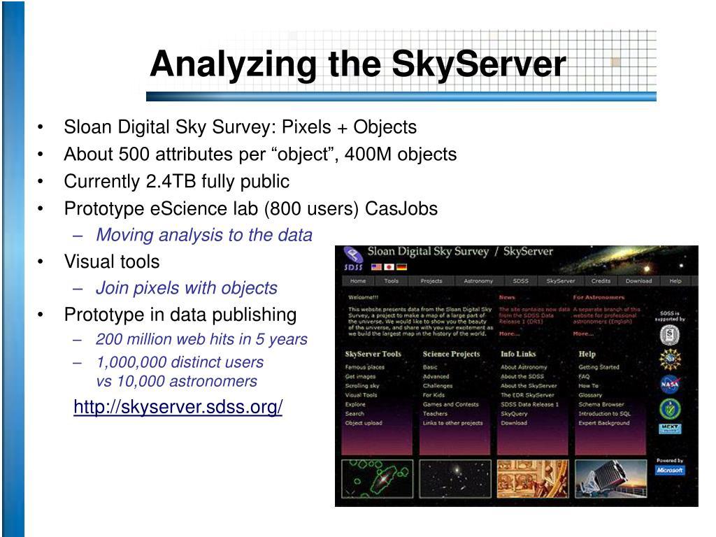 Analyzing the SkyServer