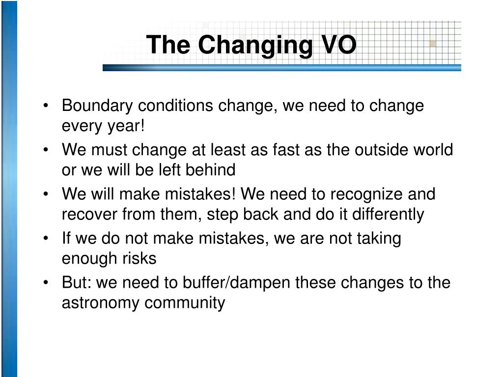 The Changing VO