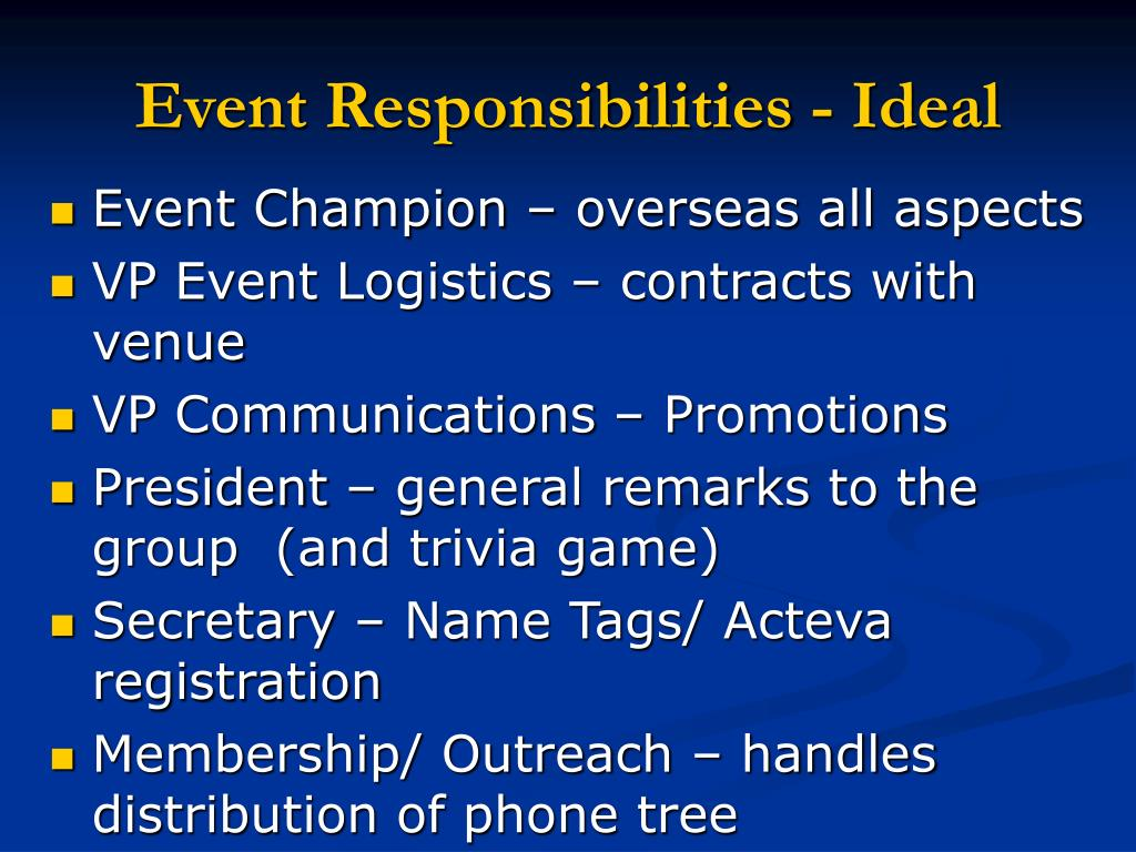 Event Responsibilities - Ideal