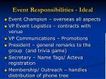 event responsibilities ideal