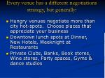 every venue has a different negotiations strategy but generally