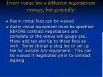 every venue has a different negotiations strategy but generally25