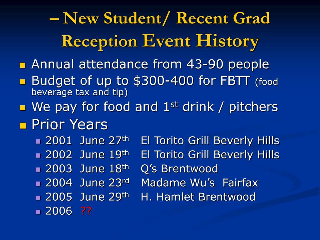 – New Student/ Recent Grad Reception