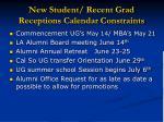 new student recent grad receptions calendar constraints
