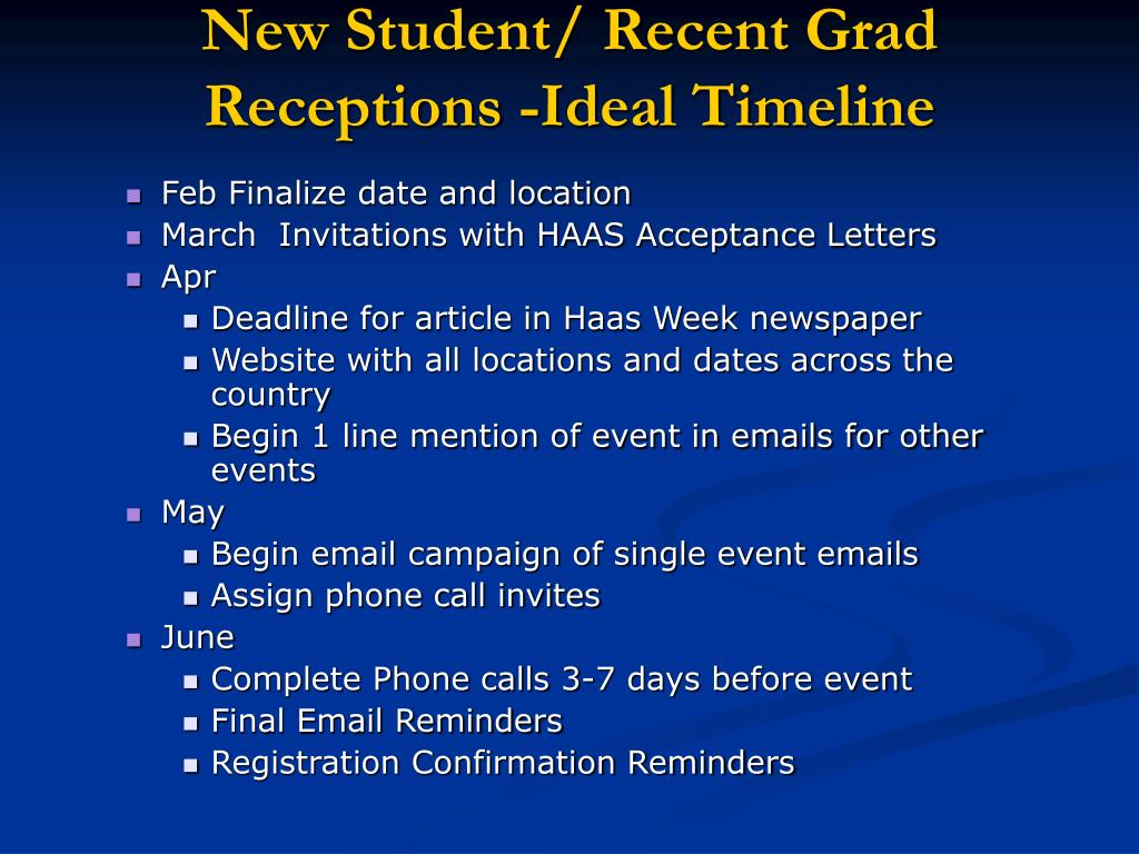 New Student/ Recent Grad Receptions -Ideal Timeline