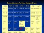 potential dates for new student event19