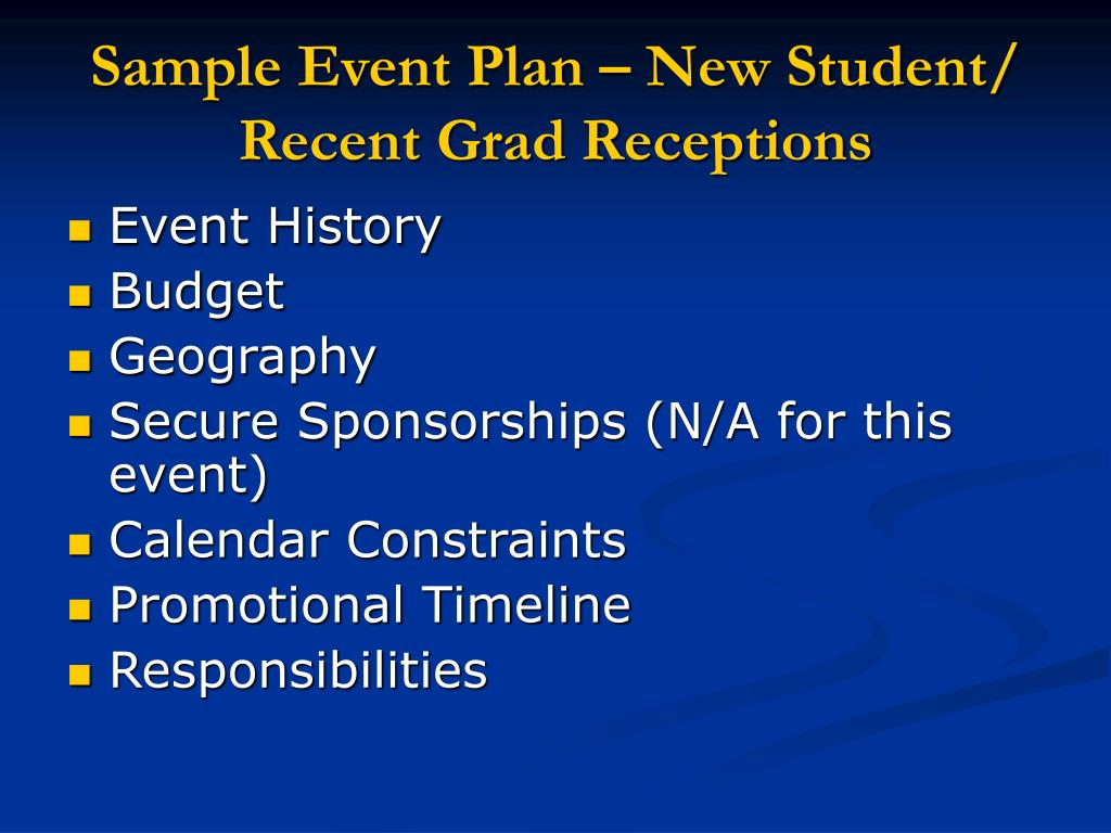 Sample Event Plan – New Student/ Recent Grad Receptions
