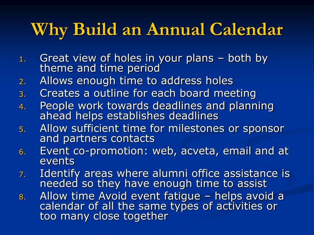 Why Build an Annual Calendar