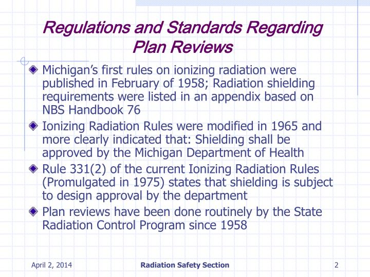 Regulations and standards regarding plan reviews