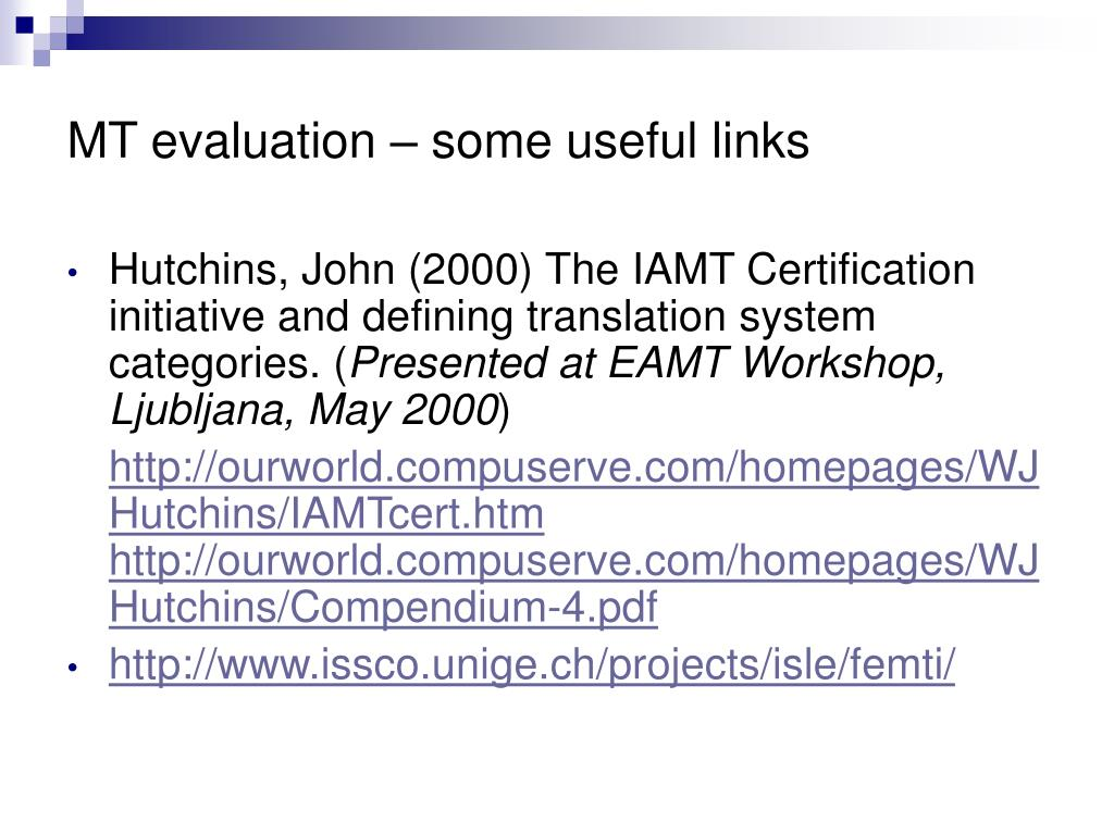 MT evaluation – some useful links