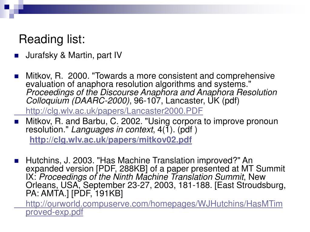 Reading list: