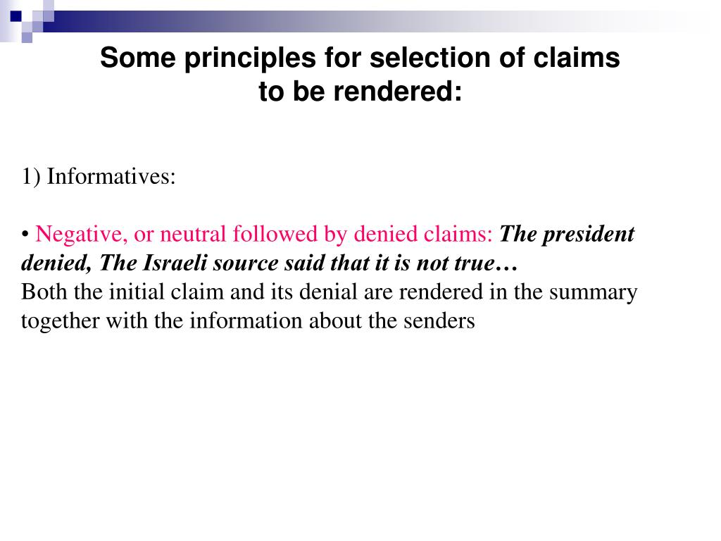 Some principles for selection of claims
