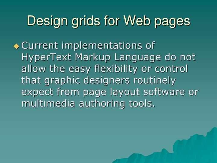 Design grids for Web pages