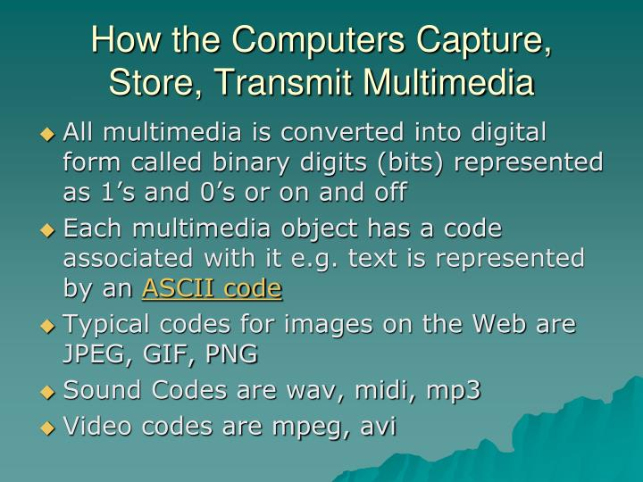 How the computers capture store transmit multimedia