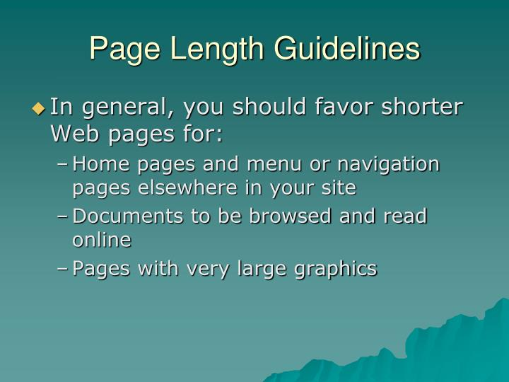 Page Length Guidelines