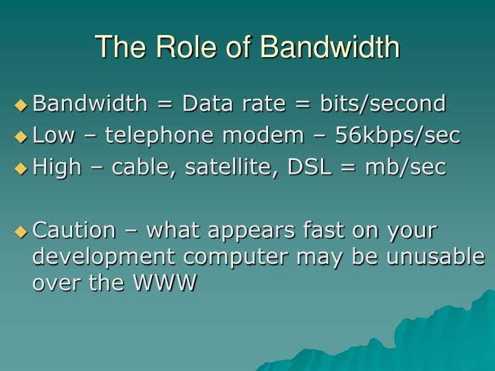 The Role of Bandwidth
