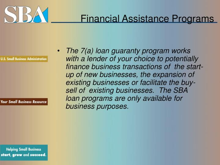 Financial assistance programs3