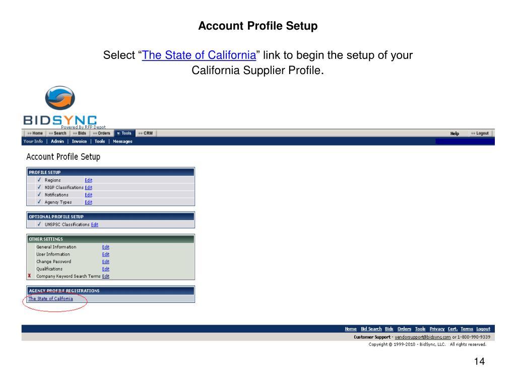 Account Profile Setup