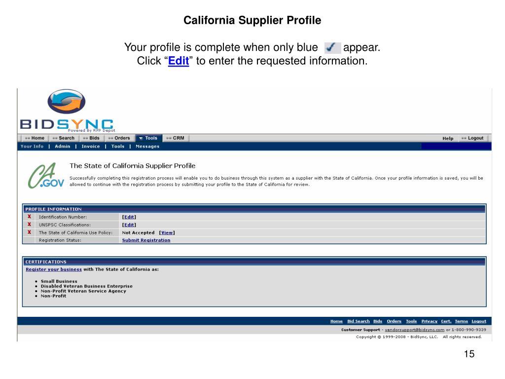 California Supplier Profile