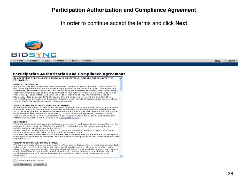 Participation Authorization and Compliance Agreement