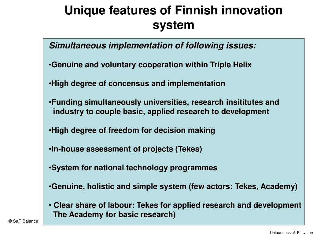 Unique features of Finnish innovation system