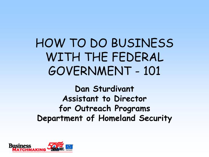 How to do business with the federal government 101