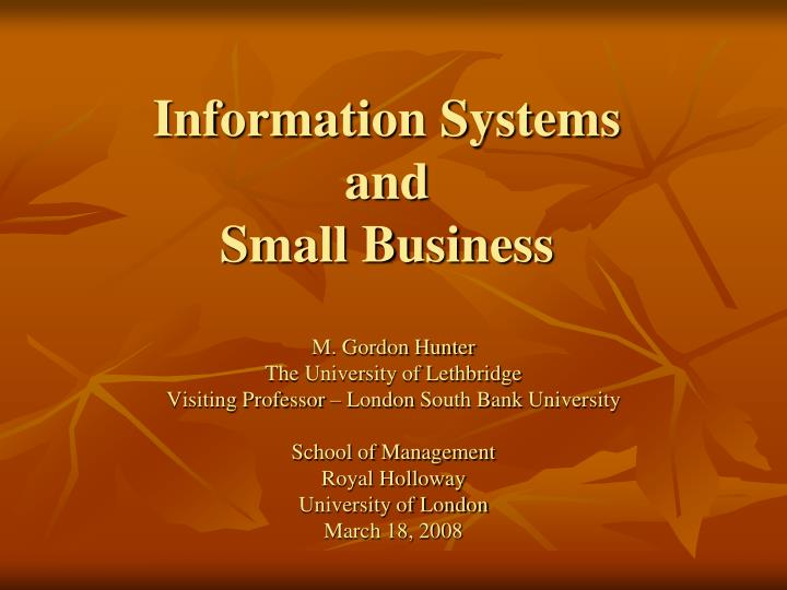 Information systems and small business