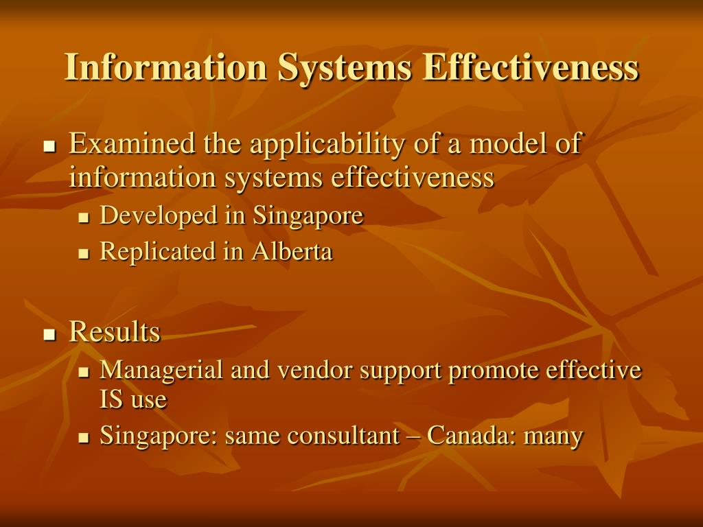 Information Systems Effectiveness