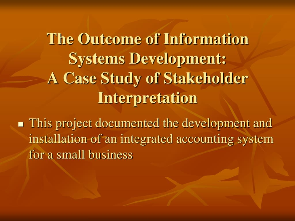 The Outcome of Information Systems Development: