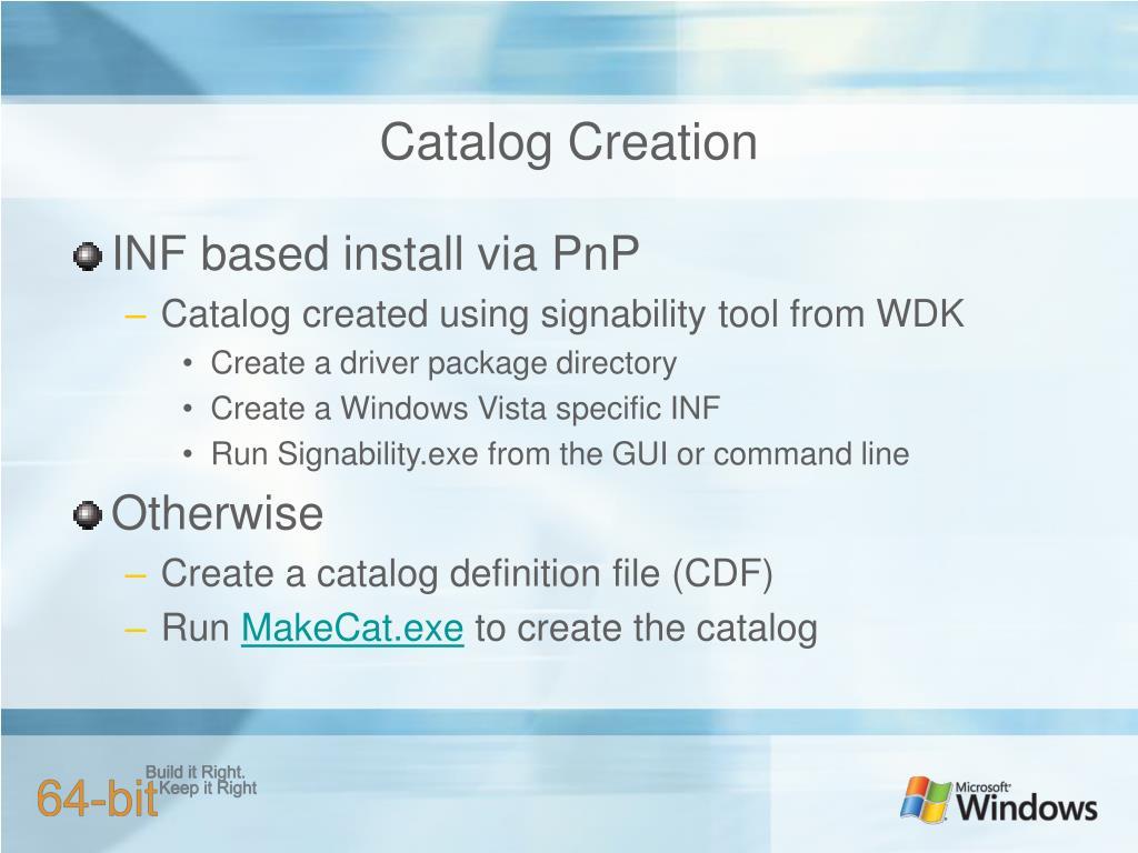Catalog Creation