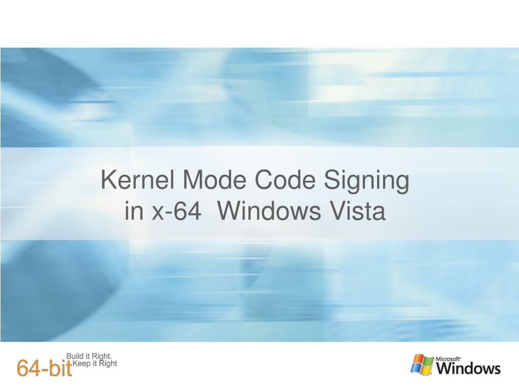 kernel mode code signing in x 64 windows vista