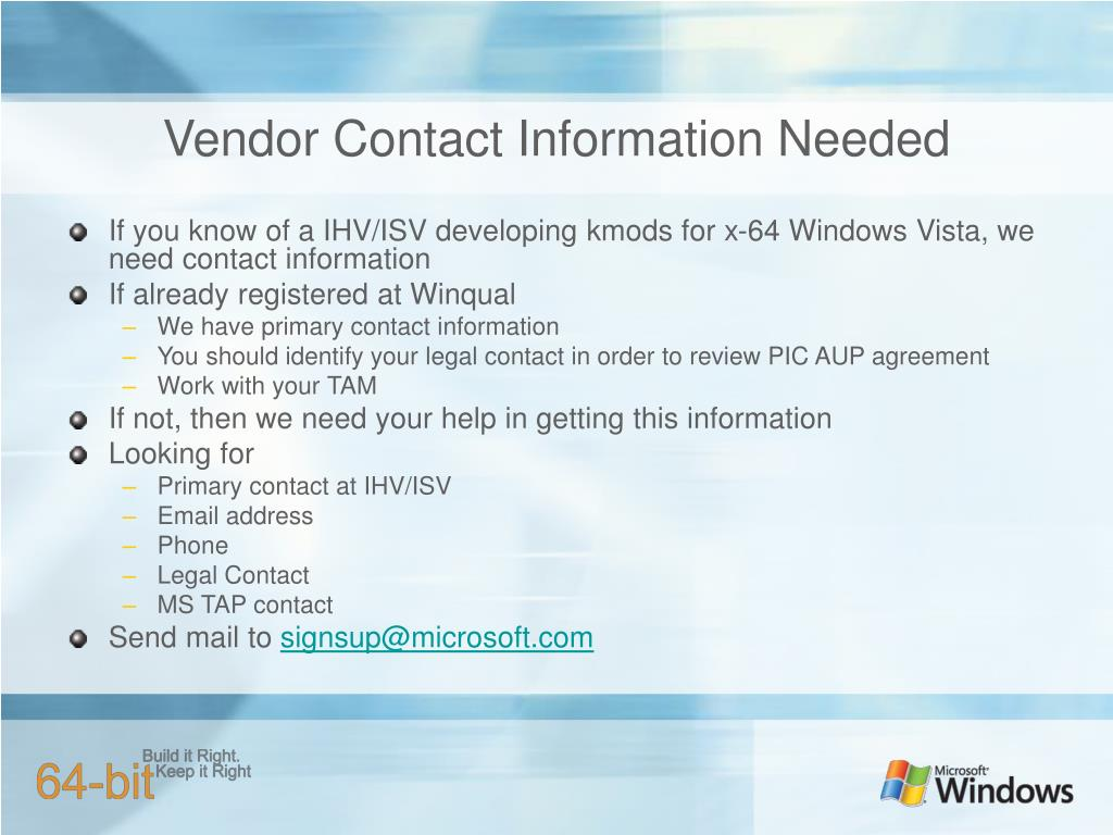 Vendor Contact Information Needed